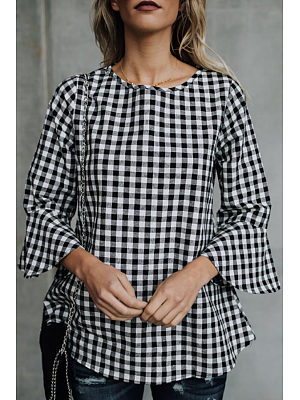 Round Neck  Gingham  Bell Sleeve Blouses