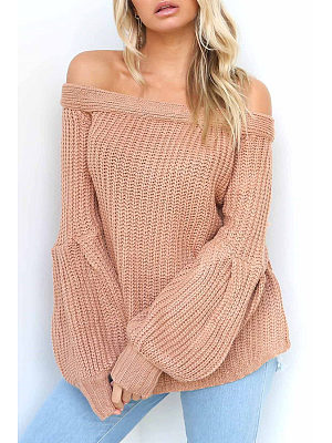 Off Shoulder  Plain  Lantern Sleeve Sweaters
