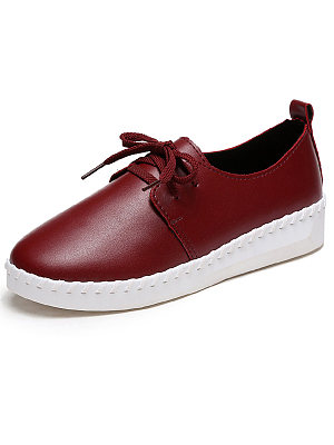 Plain  Faux Leather  Casual Flat