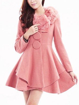 Faux Fur Collar Single Button Diamante Plain Woolen Coat