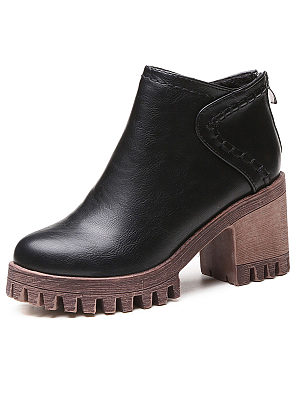 Plain  Chunky  High Heeled  Faux Leather  Round Toe  Casual Boots