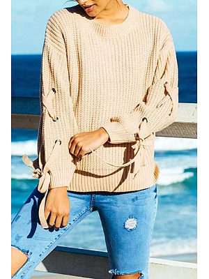 Round Neck  Lace Up Side Vented  Plain Sweaters