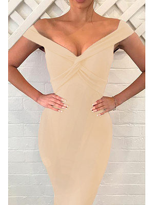V Neck  Plain Bodycon Dresses