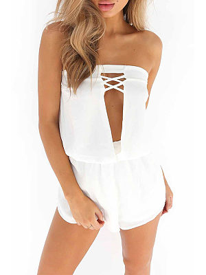 Strapless  Cutout Elastic Waist  Plain Playsuits