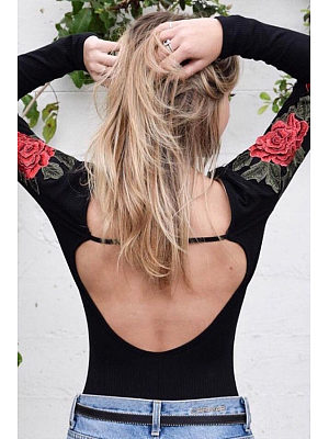 Scoop Neck  Backless  Embroidery Bodysuits
