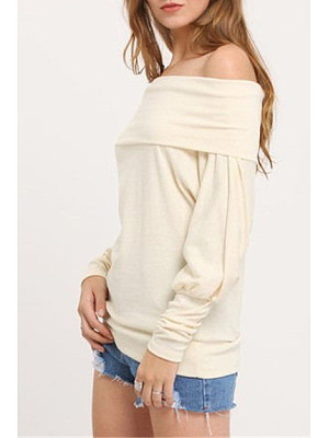 Woven Bat-wing Boat Neck Long Sleeve T-shirt