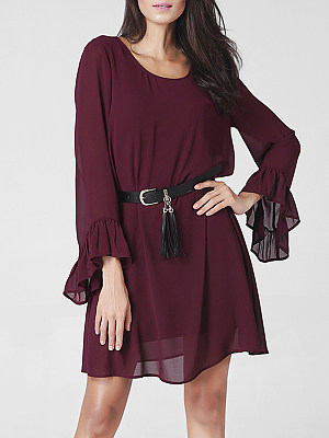 Round Neck Bell Sleeve Back Hole Plain Chiffon Shift Dress