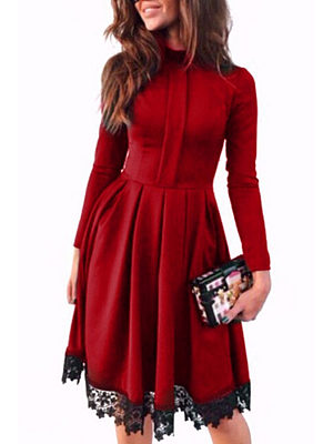 Decorative Lace  Long Sleeve Skater Dresses