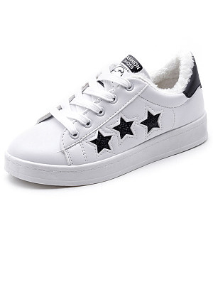Plain  Flat  Faux Leather  Criss Cross  Casual Sneakers