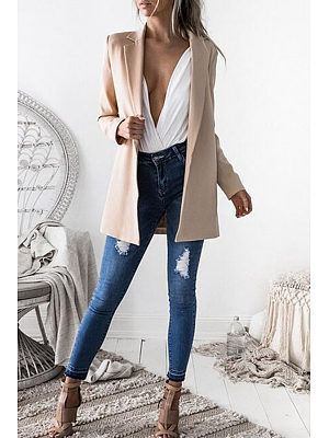 Narrow Notch Lapel  Snap Front  Plain Blazers