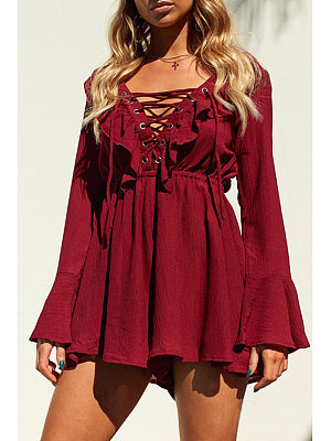 Deep V Neck  Flounce Lace Up  Back Hole  Plain Playsuits