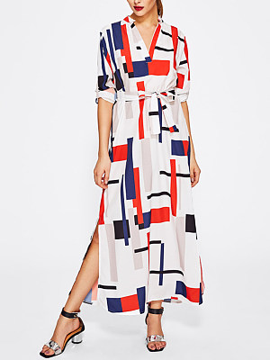 V-Neck Geometric Printed Belt Side Slit Maxi Dress