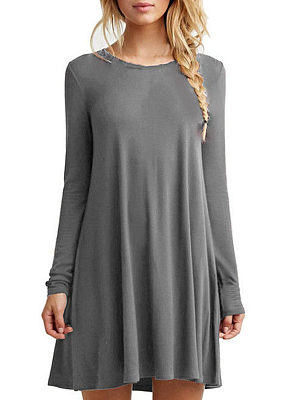 Round Neck  Plain  Long Sleeve Casual Dresses