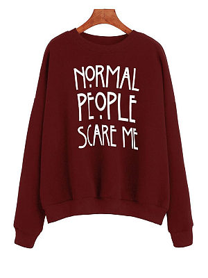 Claret Red Round Neck  Letters Sweatshirts