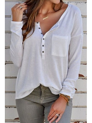 V Neck  Asymmetric Hem Single Breasted  Plain T-Shirts