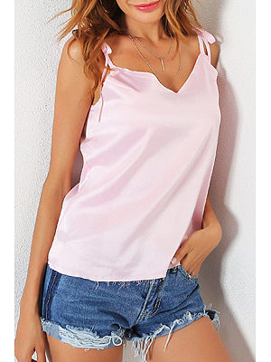 V Neck  Backless Bowknot  Plain Camis