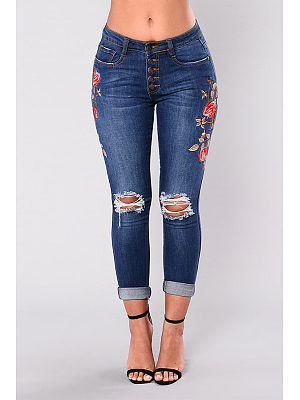 Broken Holes Single Breasted  Embroidery Jeans