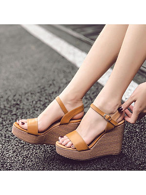 Patchwork Ankle Stap Wedge Sandals