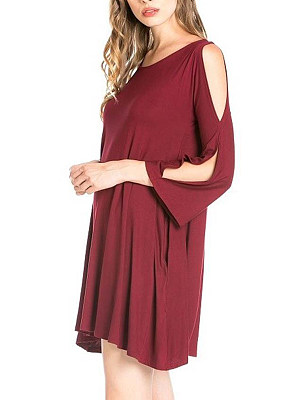 Open Shoulder Plain Shift Dress With Split Sleeve