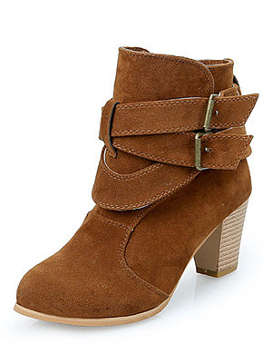 Plain  Chunky  High Heeled  Faux Suede  Casual Boots