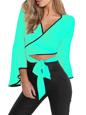 Surplice  Contrast Trim  Exposed Navel  Patchwork  Bell Sleeve Blouses