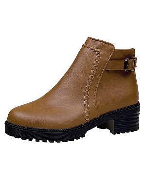 Plain  Low Heeled  PU  Round Toe Boots