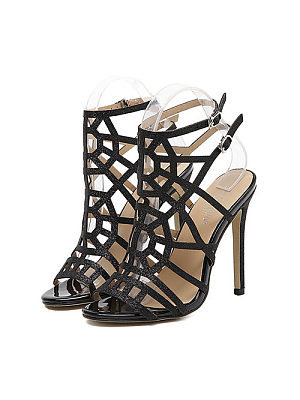 Hollow Out Plain High Heeled Sandals