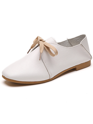 Plain  Flat  Faux Leather  Criss Cross  Casual Flat