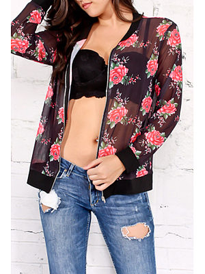 Band Collar  See Through  Floral Printed Jackets