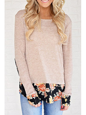 Round Neck  Patchwork  Floral Printed T-Shirts