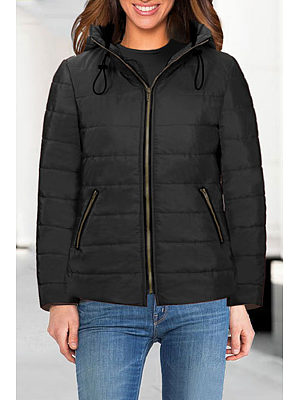 High Neck  Zipper  Plain Outerwear