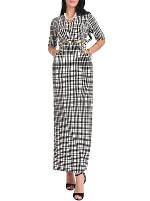 V Neck  Belt  Checkered  Half Sleeve Maxi Dresses