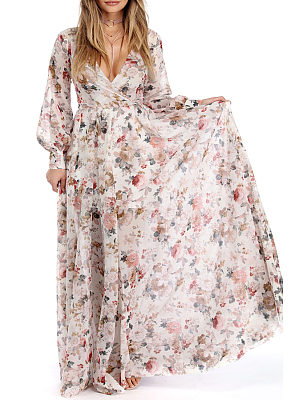 V Neck  Belt  Floral Printed Maxi Dresses