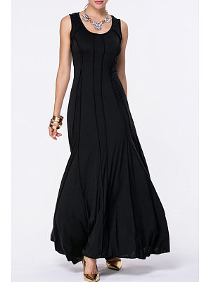 Scoop Neck  Plain Flared Maxi Dresses