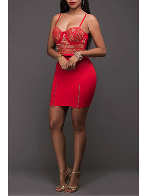 Spaghetti Strap  Diamante  Sleeveless Bodycon Dresses