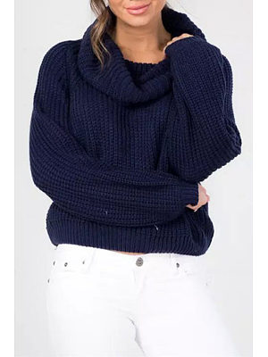 High Neck  Patchwork  Plain Sweaters