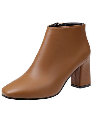 Plain  Chunky  Mid Heeled  Faux Leather  Date Boots