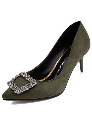 Plain  Stiletto  High Heeled  Faux Suede  Point Toe  Date Pumps