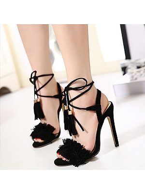 Tassel Lace Up Plain High Heeled Sandals