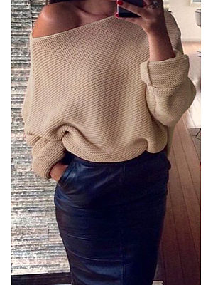 Open Shoulder  Asymmetric Hem  Plain  Batwing Sleeve Sweaters