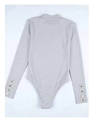 Band Collar  Decorative Buttons  Plain Bodysuits