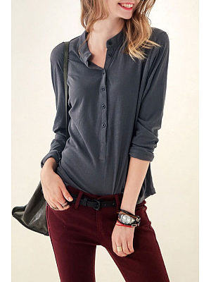 Band Collar Casual Shirts