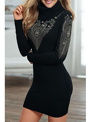 High Neck  Beading  Patchwork Bodycon Dresses