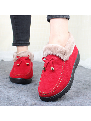 Plain  Flat  Cotton  Round Toe  Casual Boots
