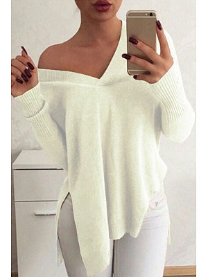 V Neck  Asymmetric Hem Side Slit  Plain Sweaters