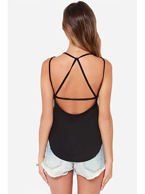Round Neck  Backless Cross Straps  Plain Camis