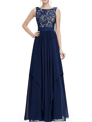 Round Neck  Asymmetric Hem Decorative Lace  Plain Maxi Dress