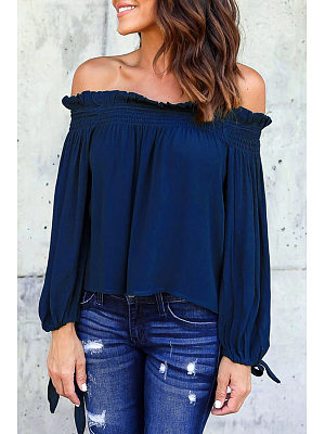 Off Shoulder  Bow Ruffle Trim  Plain Blouses