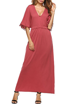 V Neck  Drawstring Fringe  Plain  Half Sleeve Maxi Dresses