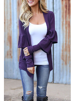 Collarless  Flounce Snap Front  Patchwork Plain Cardigans